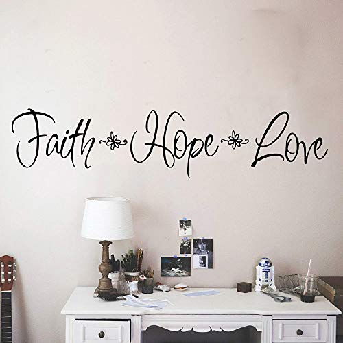LSMYM DIY Art Faith Hope Love Etiqueta de la pared Vinilo autoadhesivo Etiqueta de arte de pared impermeable Etiquetas de pared impermeables Verde L 57cm X 12cm
