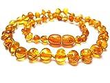 Amberta AEG-48 - Collar de ámbar (longitud 33 cm) Collar con perlas de ámbar Báltico con certificado de autenticidad. Marca: Amberta.