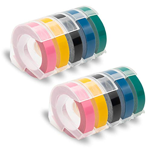 Pristar Replacement Embossing Label Tape Compatible for DYMO Embossing Xpress Label Maker, 3D Plastic Labels Self-Adhesive Black/Pink/Yellow/Lake Blue/Lake Green, 3/8 Inch x 9.8 Feet, 10-Pack