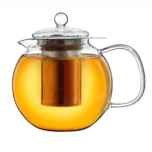 Creano Teekanne aus Glas 1,3l, 3-Teilige Glasteekanne mit Integriertem Edelstahl-Sieb und Glas-Deckel, Ideal zur Zubereitung von Losen Tees, tropffrei, All-in-One