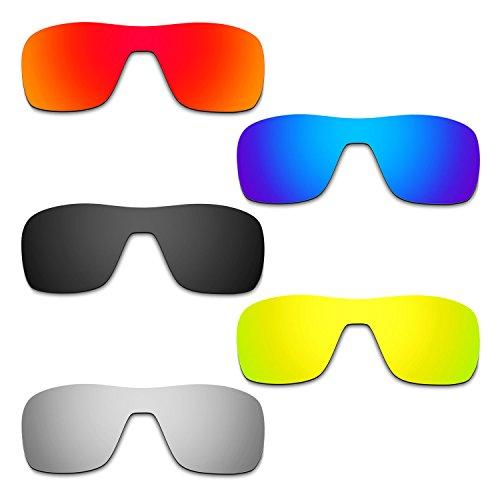 HKUCO Mens Replacement Lenses For Oakley Turbine Rotor Red/Blue/Black/24K Gold/Titanium Sunglasses