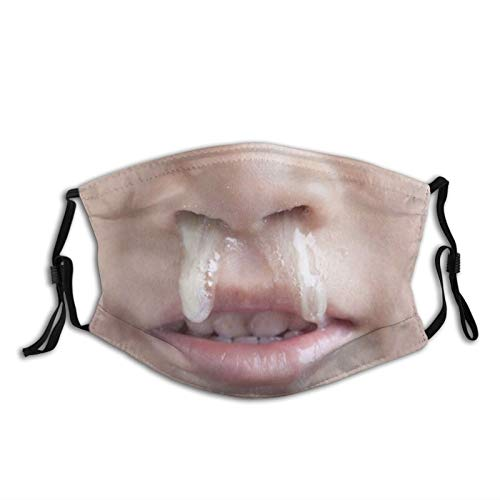 Funny Face Gross Snot Nose Adults Fashion Washable Dust and Windproof Mask Reusable Face Cover Adjustable Ear Straps Black