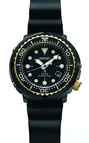 Relógio de mergulho Seiko Prospex Solar com pulseira preta de silicone 200 m SNE498