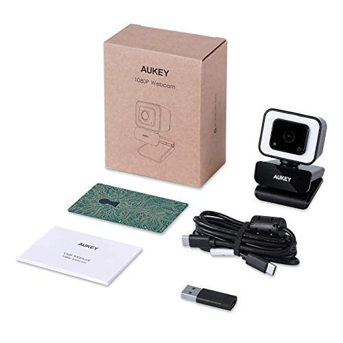 AUKEY FHD Webcam, 1080p 60fps Live Streaming Camera with Dual Stereo Microphones and LED Light, Desktop or Laptop USB Webcam for Widescreen Video Calling and Recording