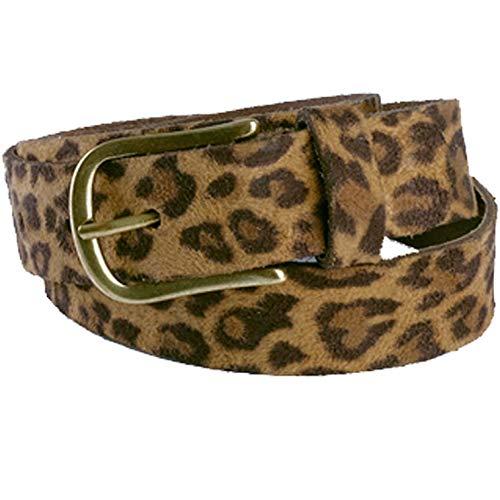 KÖ Kind Damen Gürtel Leo 1, Leder Leopard V45 Brown, Schließe Bronce, 95 cm