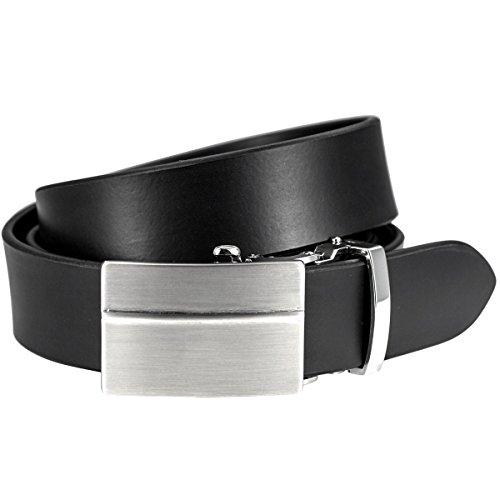 Lindenmann Mens leather belt/Mens belt, leather belt with autolock buckle, black, Größe/Size:100, Farbe/Color:noir