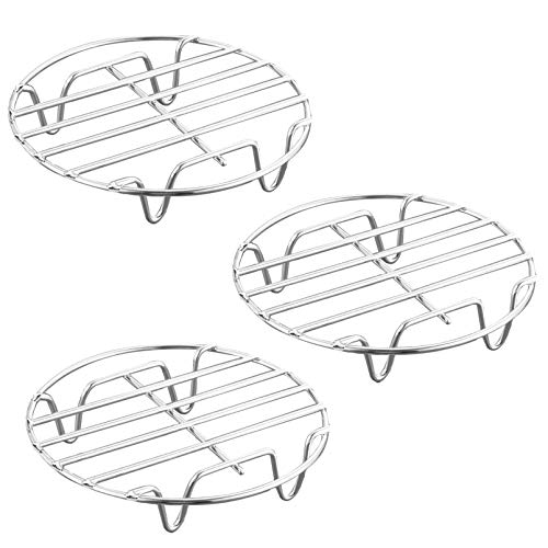 HILELIFE Stainless Steel Cooling Rack - 3 Pcs 8 in Round Cooking Rack Steamer Rack Multipurpose Drying Baking Rack for Stock Pot, Pressure Cooker, Steamer, Canning, Pan and Oven