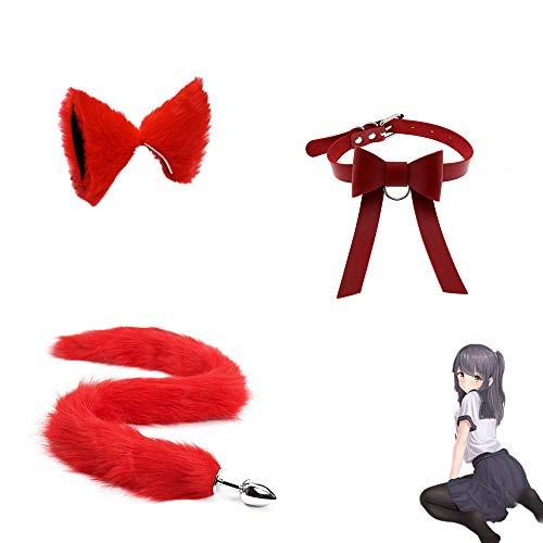 3 Piezas, Acero Inoxidable B-ü-t-t P-l-ǔ-g Fox Tail Toys - Bowknot Collar Halloween Cosplay Party - Rojo