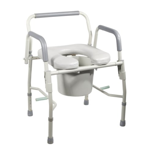 Drive Medical Steel Drop Arm Bedside Commode with Padded Seat and Arms,...