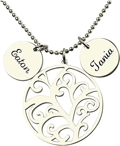 Collar de plata de ley 925 personalizado upwmm Árbol genealógico con 2 CD Colgante de nombre Collar de madre Regalo de amante 16.0 Plata