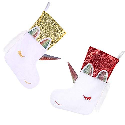 Ylinwtech 2 Piezas Calcetín De Navidad,Calcetín Navideño Unicornio,Medias de Navidad Decoracion,para Decoraciones de Árboles de Navidad,Fiesta,la Puerta,la Chimenea(1Pieza Roja,1Pieza Amarilla)