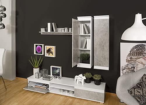 Homely Mueble de salón Modular Lucky de 203 cm (Hormigón/Blanco)