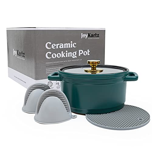 Ceramic Cooking Pot - Dutch Oven Pot with Lid 3 Quart - Leak proof, All-Natural, Soup Pot, Earthen Casserole Dish Cookware for Bread Making, Clay Cooking Pot in Green