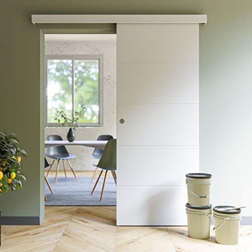 Coulicool - Porte coulissante blanche prépeinte ligne 83cm + un Kit comprenant le rail et l habillage rail (assorti au décor de la porte coulissante) - Haut.204 x Larg.83 x Ep.4 cm
