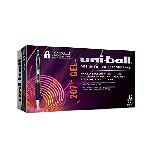 uni-ball 207 Retractable Gel Pens, Micro Point, Black, Box of 12