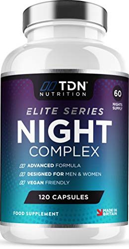 Sleeping Aid 5-HTP & Natural Melatonin Sources - 120 Capsule Pills - Montmorency Cherry, Chamomile, Lemon Balm, Hops, L-Theanine, Lavender Plus Neuro Vitamins - 15 Ingredients - Vegan - UK Made
