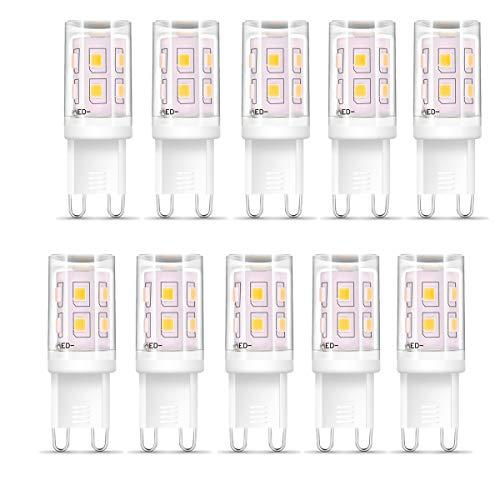G9 LED blanco cálido, 2W G9 Lámpara LED Bombilla G9 reemplaza lámpara halógena de 25W, lámpara G9 3000K blanco cálido 200 lúmenes, sin parpadeo, CA 220-240V, no regulable - paquete de 10