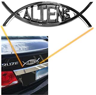 Aliens UFO Car Decal - Chrome Auto Emblem
