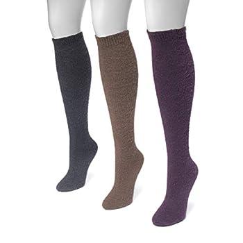 MUK LUKS Women s 3 Pair Pack Fuzzy Yarn Knee High Socks - Jewel