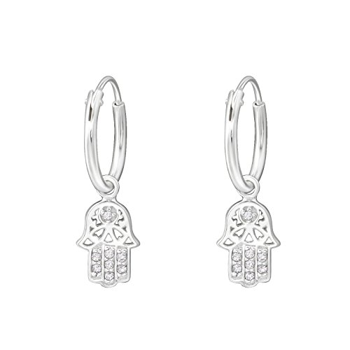I love silver jewellery - Hamsa Hand Charm Sterling Silver Mini Hoop Earrings 12mm