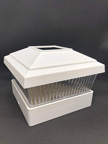 RELIGHTABLE 18 Pack Outdoor Garden 5 x 5 Solar LED Post Deck Cap Square Fence Light Landscape Lamp Lawn PVC Vinyl Wood (White)