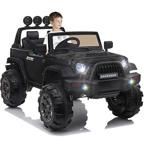 OTTARO Kids Electric Car Ride on Cars Trucks, Battery Powered Car for Kids,12V Motorized Vehicles w/ Parental Remote Control, LED Lights, MP3 Player,Safety Belt,Spring Suspension(Black)