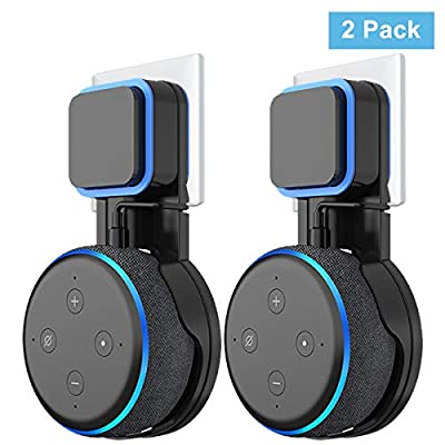 Wigoo Wall Mount Holder Hanger on Wall Plug for Dot 3rd Generation, Built-in Cable Management without Screws, Compact Safety Case in Kitchens, Bathroom and Bedroom Black(2-Pack) … by Cozycase