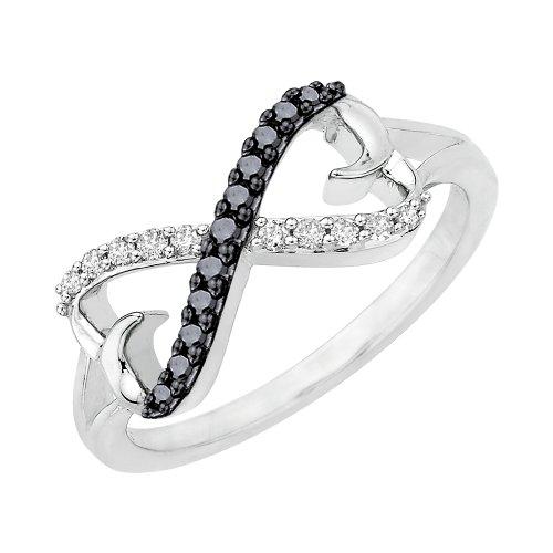 KATARINA Anillo de diamante blanco y negro con forma de corazón doble en plata de ley (1/5 cttw, I-J, SI) (talla 3)