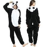 KUNHAN Pijamas Enteros Pijama de Franela de Manga Larga para Hombre y Mujer, Mono de Tul de una Pieza, con Capucha, kiguru-mis Panda, Animal-Negro_S