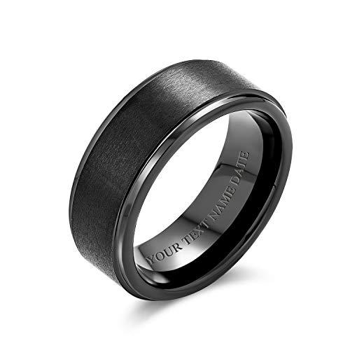 Bling Jewelry Personalizado Cúpula Mate Negro Anillo De Tungsteno Banda Boda Parejas para Hombres Y para Mujer 8Mm Grabado