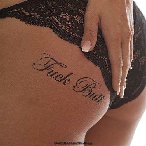 5 x Fuck Butt Tattoo Schriftzug in schwarz - Sexy Kinky Fetisch Tattoo (5)