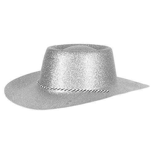 Ciffre Texas Westernhut Party Hut Sheriff Fasching Masken Perücke Maske - Cowboyhut Glitzer Look Silber