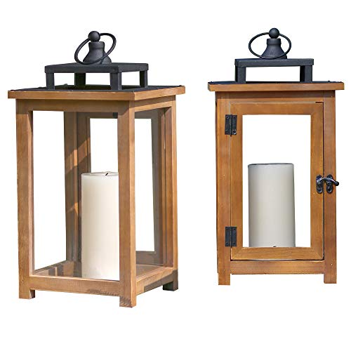 Set of 2 Decorative Candle Light Hanging Wooden Metal Glass Holder/Candle Lanterns(7.5'X7.5'X14.5') Christmas Decoration (Don't Include Candles)