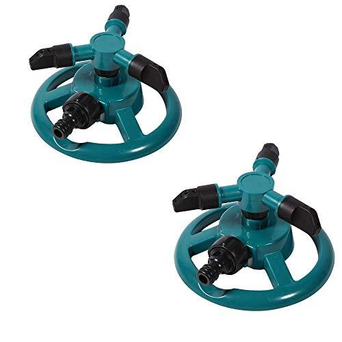Paquete de 2 aspersores de agua, automático 360 Aspersor de jardín ajustable rotativo 3 Aspersores de césped con brazo Aspersor de rotación ABS Boquilla de riego Suministro de jardinería