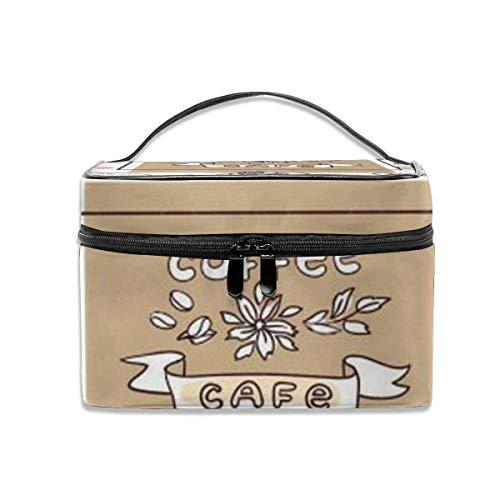 Belle Illustration vectorielle dessinés à la Main café et Bonbons Voyage Trousse de Maquillage Organisateur de Cas cosmétique Portable