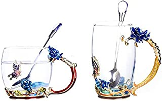 Bestbling Creative Decoration Enamel Flower Crystal Clear Glass Coffee Tea Water Milk Cup Mug 2 pieces in 1 Gift Box (Blue Rose)