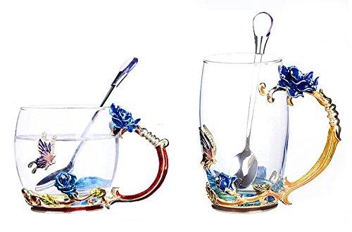 Amazing Deal Bestbling Creative Decoration Enamel Flower Crystal Clear Glass Coffee Tea Water Milk C...