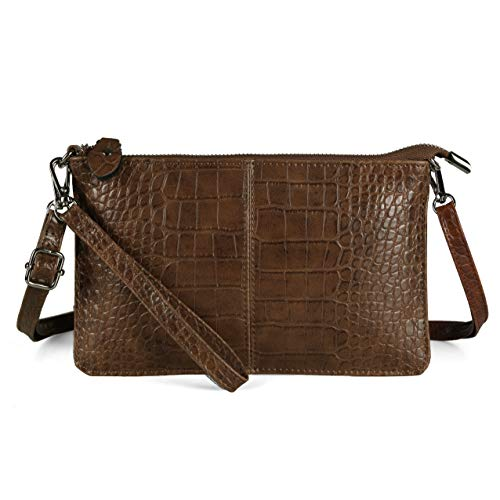 Befen Leder-Clutch, Geldbörse, kleine Crossbody-Tasche für Damen, (Ölwachs-braun Krokodil), Small