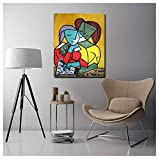 Yourenyuan Pablo Picasso Two Girls Reading Canvas Print Poster Living Room Home Decor Modern Wall Art Oil Painting Picture -60x80cm No Frame