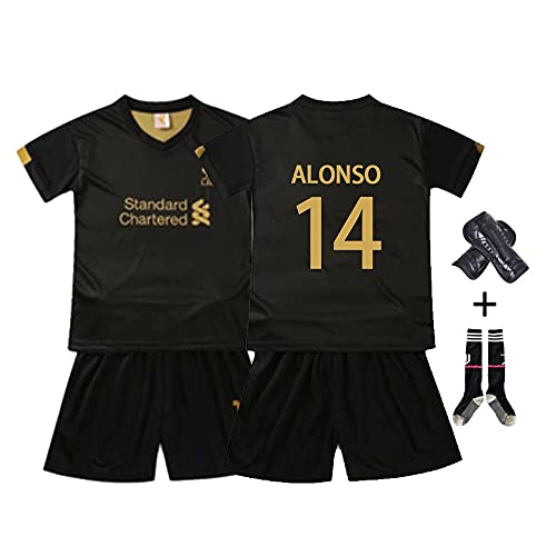 W&F Camiseta de fútbol para niños, Camiseta de fútbol de Xabi Alonso # 14 con Rodilleras y Calcetines (Color : A, Size : Child-Medium)