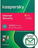Kaspersky Internet Security 2021 | 3 Devices | 1 Year | PC/Mac/Android | Activation Key Card by Post with Antivirus Software, 360 Deluxe Firewall, Web Monitoring, Total Security VPN, Parental Control