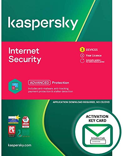 Kaspersky Internet Security 2021   3 Devices   1 Year   PC/Mac/Android   Activation Key Card by Post with Antivirus Software, 360 Deluxe Firewall, Web Monitoring, Total Security VPN, Parental Control