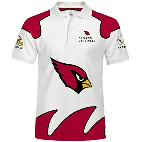 Kasonj NFL Unisex Amerikanisch Fußball Poloshirt - Trikot Logo Kurzarm Sweatshirt American Football Polo Hemd(Arizona Cardinals 5XL)