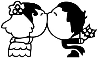 Leon Online Box Wedding Kiss - Cartoon Decal [12cm Black] Vinyl Sticker for Car, Bike, iPad, Laptop, MacBook, Helmet