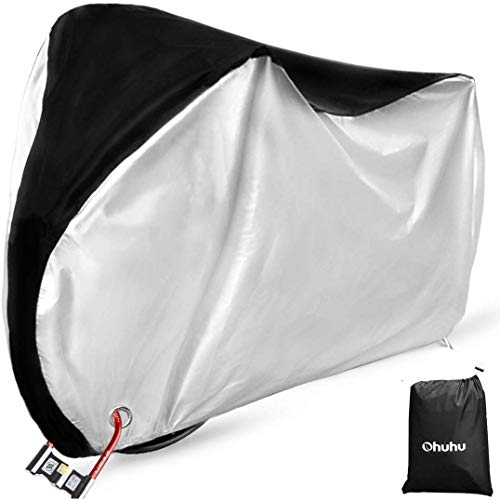 Ohuhu Bike Cover Outdoor Waterproof Bicycle Cover for Mountain Bike, Road Bike, Lock-Holes Design, All Weather Protection, Strong & Tear Proof