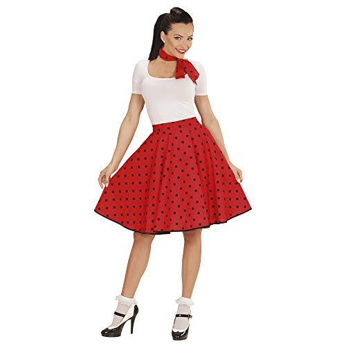 WIDMAN Lunares Falda de 1950 y Bufanda Set Adultas - Disfraz - Rojo - Talla 38-40