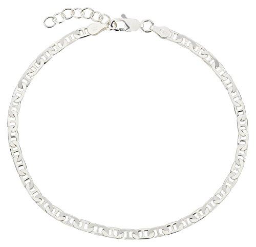 Fußkettchen, Fußkette aus 925 Sterling Silber als Fußschmuck für Damen und Mädchen, Länge 22-25cm, Modell 55