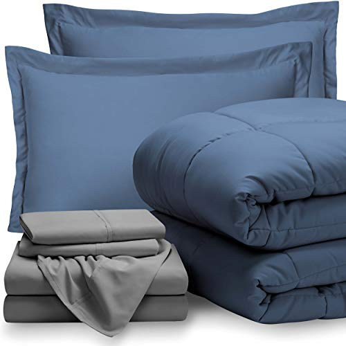 Bare Home Bed-in-A-Bag 7 Piece Comforter & Sheet Set - King - Goose Down Alternative - Ultra-Soft 1800 Premium - Hypoallergenic - Breathable Bedding Set (King, Coronet Blue/Light Grey)