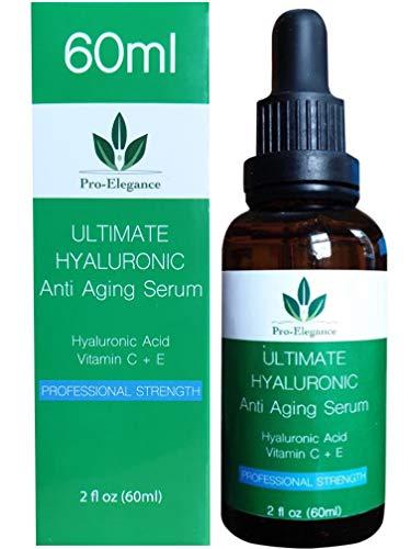 Hyaluronic Acid Serum for face - 60ml Bottle - Anti ageing & wrinkle Cruelty-Free Best Pure Hyaluronic Acid Moisturiser with Vitamin C Green Tea Vitamin E & Organic Jojoba Oil