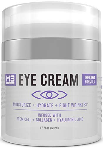 M3 Naturals Eye Cream with Collagen, Hyaluronic Acid & Stem Cell - Made in USA - Anti Aging Under Eye Cream for Dark Circles and Puffiness - Bags, Fine Line, Wrinkle & Puffy Eyes Treatment 1.7 oz